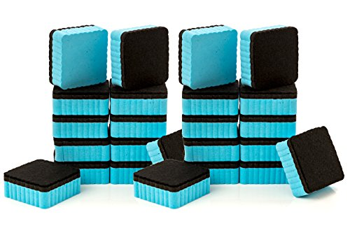 24-Pack of Premium Magnetic Dry Erase Erasers / Dry Erasers - 2 x 2 - Perfect Whiteboard Erasers for Classroom, Home and Office