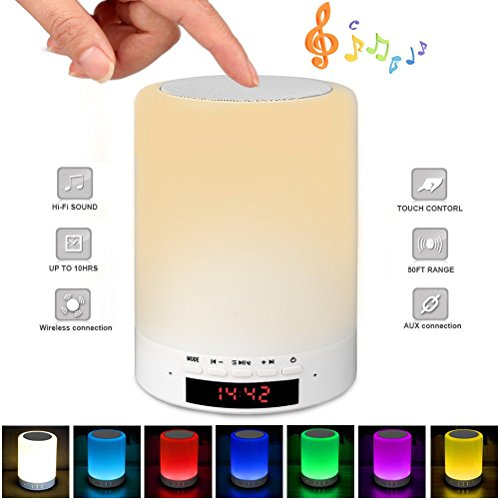 Touch Bedside Lamp with Wireless Bluetooth Speaker, Dimmable Warm Night Light, Outdoor Table Lamp with Smart Touch Control, Best Gift for Men Women Teens Kids Children Sleeping Aid ((With LCD Clock)) Ladies Lcd