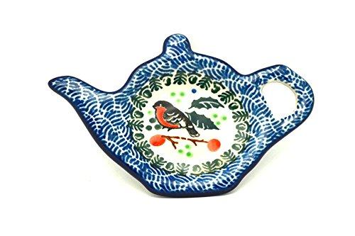 Polish Pottery Tea Bag Holder - Red Robin