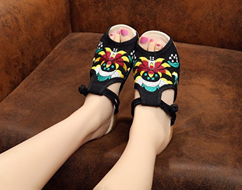 On On Slip Womens Insun Embroided Loafers Womens Slip Embroided Sandals Black Insun fq5xRwpp