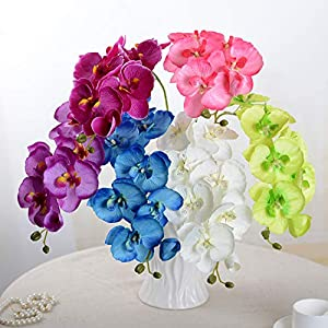GSD2FF 1pcs Fashion Butterfly Orchid Artificial Flowers Head Party Home Decor Wedding Decoration Accessories Fake Flower 102