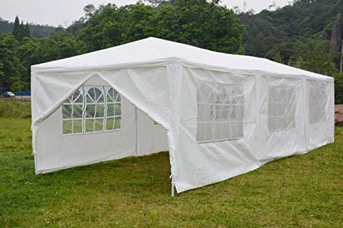 Outdoor Canopy Tent BBQ Shelter Pavilion, Gazebo Tent Waterproof Canopy for Party Camping ,White with 6 Windows(10'30')