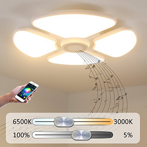 NATSEN LED Ceiling Light Shade with Bluetooth Sound Speaker, APP ...