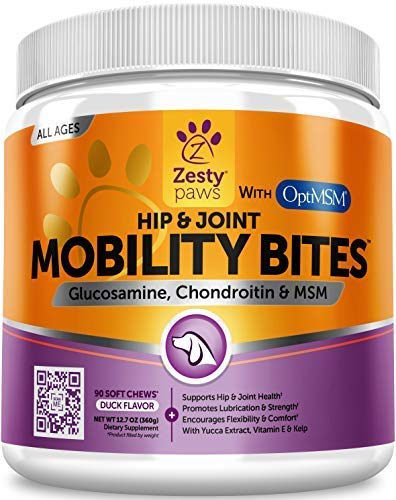Glucosamine for Dogs - Hip & Joint Supplement for Dog Arthritis Pain Relief - With Chondroitin & MSM - Advanced Daily Natural Mobility Pet Soft Chews for Joints - All Canine Breeds & Sizes - 90 Count from Zesty Paws