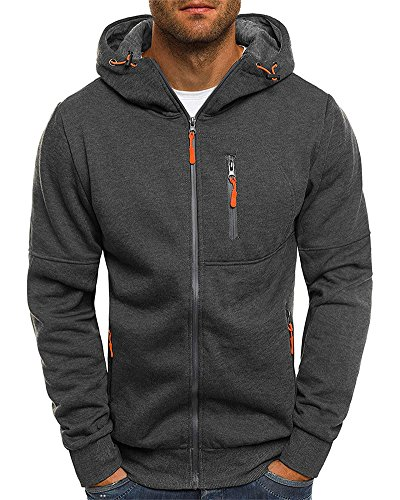 Frontier Fashion Men's Fashion Fit Full-Zip Dark Gray Hoodie Inner Cell Phone Pocket B39-06-xl