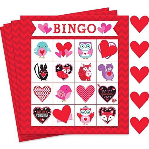 Amscan Valentine Bingo Game Party Activity (224 Piece), Red/Pink, 10'' x 7''