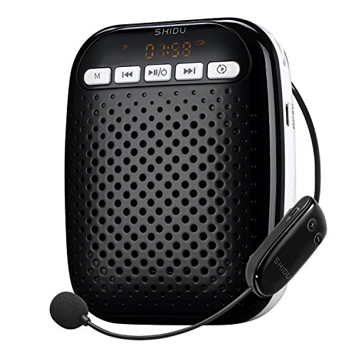 Voice Amplifier SHIDU S718 2.4G Wireless Voice Amplifier for Teachers 10W Portable PA System with Headset Microphone Built-in Rechargeable Battery and Hands-free Waist-Band