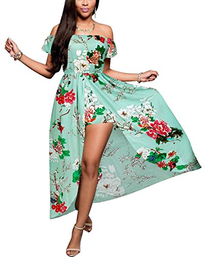 BIUBIU Women's Off Shoulder Floral Rayon Party Maxi Split Romper Dress Light Green L