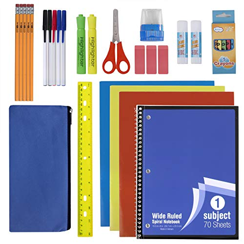 30 Piece School Supplies Kit for Elementary Kids  Back to School Essentials Bundle K-12 Supply Pack for Girls & Boys