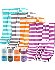 Sfee 2 Pack Microfiber Travel Towel, Quick Dry Towel Camping Towels, Super Absorbent Compact Lightweight Sport Towel Soft Striped Beach Towel for Pool, Bath, Travel, Hiking, Gym, Yoga, Backpacking