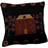 "Home Collection by Raghu PLWT0040 Black Primitive Manor Pillow, 14"" x 14"""