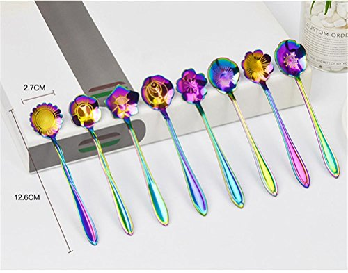 Cha Long 8 Pcs Rainbow Flower Stainless Steel Spoons Set,Coffee Tea Mixing Soup Sugar Dessert Appetizer Seasoning Bistro Fruit Cake Spoons, Party Farvors (#1) by Cha Long (Image #2)