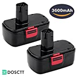 [Upgraded to 3600mAh] Dosctt 3.6Ah C3 Battery for Craftsman 19.2 Volt Battery DieHard 315.115410 315.11485 130279005 1323903 120235021 11375 11376 Cordless Pack of 2