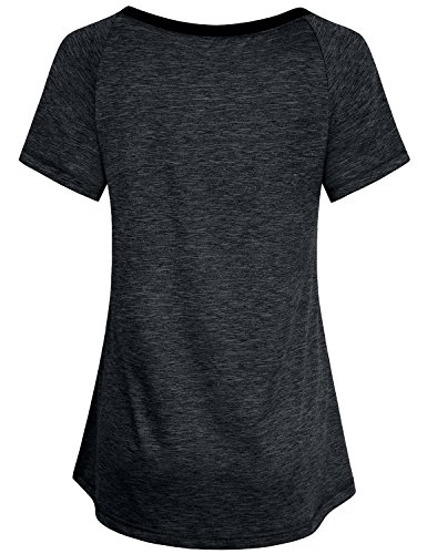 Miusey Sports Shirts for Women, Ladies Gym Workout Short Sleeve V Neck Tee Activewear Raglan Top Jr Clothes Color Block Plain Outwear Classic Heathered Black M by Miusey (Image #1)