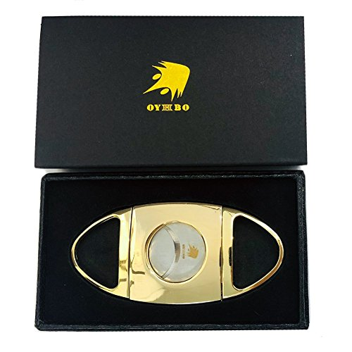 OYHBO Cigar Cutter Stainless Steel Guillotine Style Double Blades Cutter Perfect for Most Cigars (Gold) -