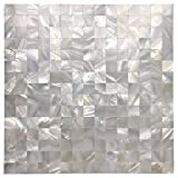 Art3d Mother of Pearl Mosaic Tile for Kitchen Backsplash/Bathroom/Shower Wall, 12'' X 12'' White Mini Square, Seamless