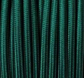 Cable de tela plástico Cable oscuro–Verde, 2conductores (redondo, 2x 0,75