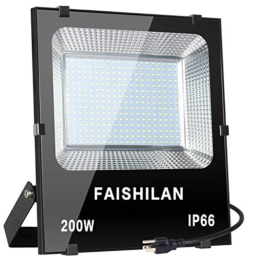 FAISHILAN 200W LED Flood Light,200W(1000W Halogen Equiv), Outdoor IP66 Waterproof Work Lights, 20000Lm,6500K, Outdoor Floodlight for Garage, Garden, Lawn and -