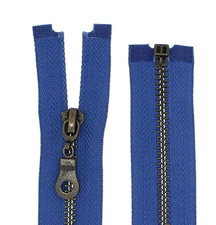 FIM chiusura a lampo metallo N. 5 mediamente grossa, brunita divisibile per giacche., 1 - schwarz (322), 30cm