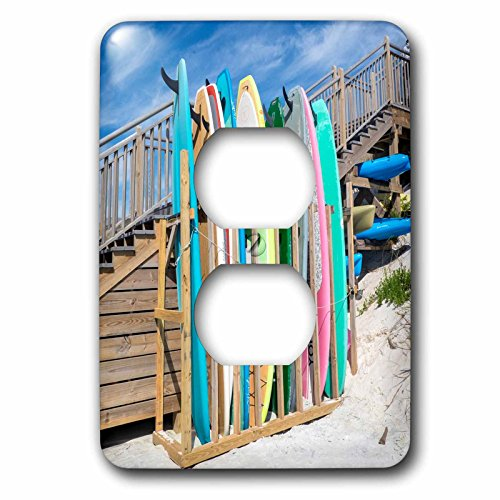 3dRose Danita Delimont - Beaches - Surfboards on Alys Beach, Seacrest, Florida, USA - Light Switch Covers - 2 plug outlet cover (Seacrest 2 Light)