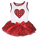 Petitebella Polka Dots Heart White Shirt Red Sequins Tutu Puppy Dog Dress (XX-Large)