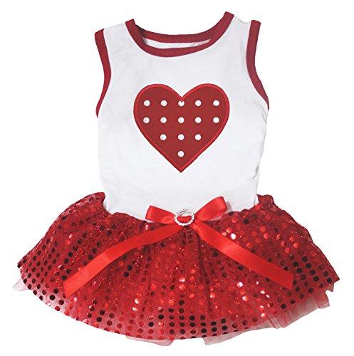 Petitebella Polka Dots Heart White Shirt Red Sequins Tutu Puppy Dog Dress (XX-Large)