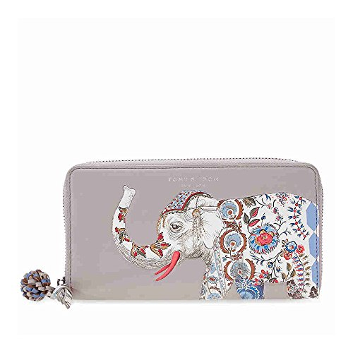 Tory Burch Elephant Continental Zip Wallet - French Gray by Tory Burch