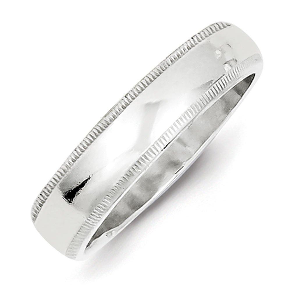 5mm High Polish Finish Half Round Domed Milgrain Sterling Silver Wedding Band - Size 7.5