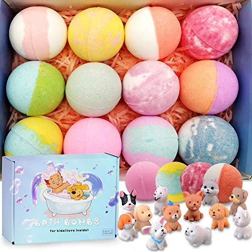 Bath Bombs for Kids with Toys Inside Kids Bath Bombs Organic Bubble Bath Fizzies Bomb 3.5 oz/per 12 Pcs Set Birthday/Christmas Surprise Gift for Girls & Boys