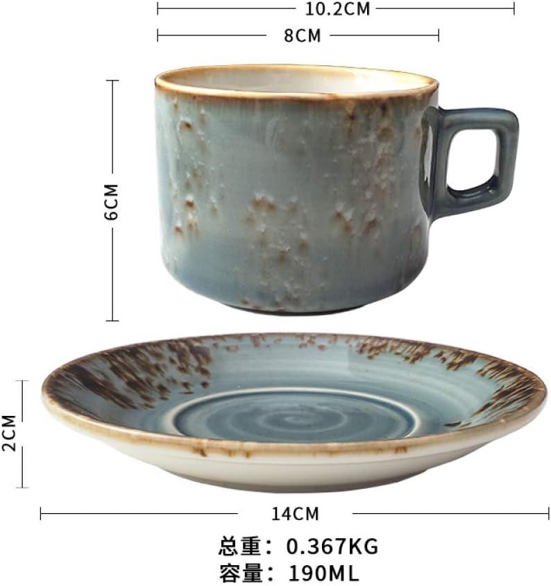 HRDZ Taza de café con platillo Conjunto Creativo Flor de cerámica Taza de té Taza de té de la Tarde platillo pequeña Marca Taza