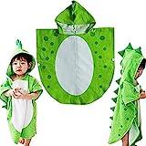 Children Bath Towel Robe Kids Hooded Beach Swimming Poncho Dinosaur Pattern (Green, 55cm*110cm)