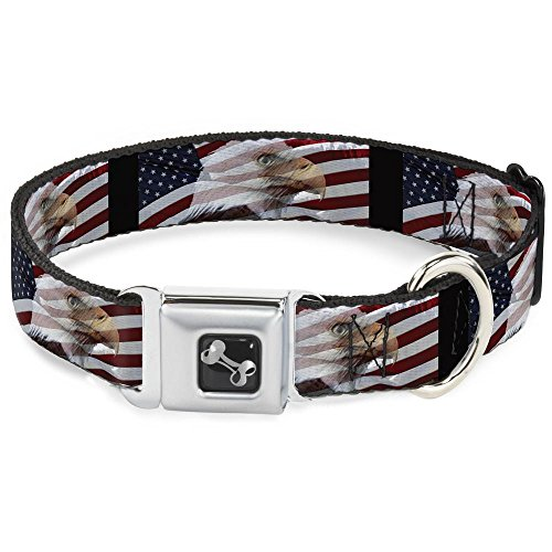 Buckle Down Seatbelt Buckle Dog Collar - American Eagle Flags - 1