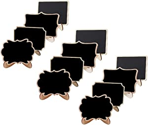 12 Pack Mini Chalkboard Signs with Stand,4 Styles Small Wood Chalkboards Blackboard for Food Signs