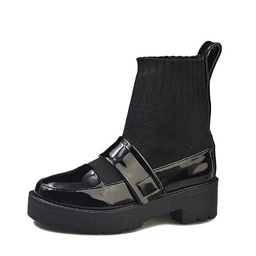 YSFU Botas Botines para Mujer Punta Redonda Crochet Zapatos Parcheados Botines De Las Señoras Casual Otoño Invierno Zapatillas De Deporte Planas ...