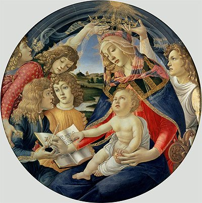 Botticelli (Madonna of the Magnificat, 1482) Canvas Art Print Reproduction (20.1x20.1 in) (51x51 - Botticelli Madonna