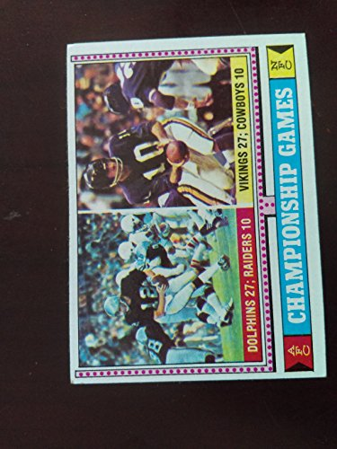 (AFC & NFC Championship Games (Football Card) 1974 Topps #462 - Miami Dolphins over Oakland Raiders / Minnesota Vikings - Fran Tarkenton / Ken Stabler)