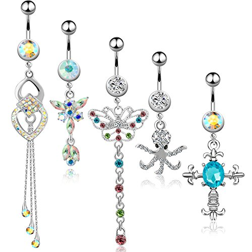 Butterfly Ring Crystal Belly - 5Pcs Dangle Belly Button Rings Set Navel Surgical Stainless Steel 14G Body Piercing Jewelry (Aurora)