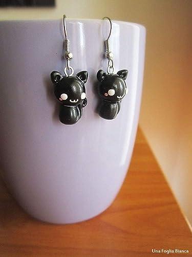 Pendientes gatos negros cernit fimo handmade arcilla polimerica