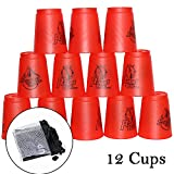 Quick Stacks Cups, 12 PC Sports Stacking Cups Speed Training Game (Red)