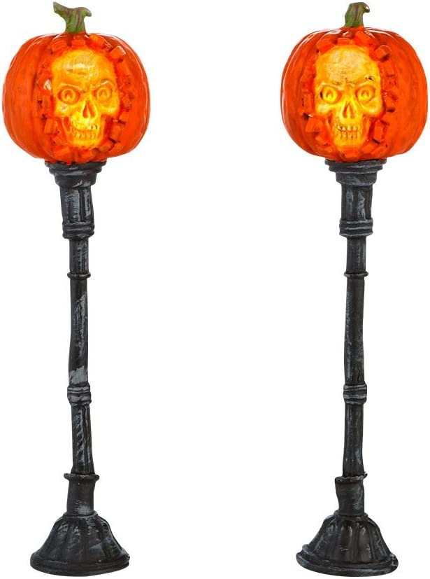 Department 56 Accessories for Villages Halloween Evil Pumpkin Lampposts Lights, 1.77 inch