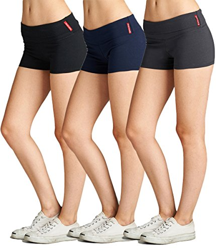 Emmalise Women's Active Yoga Shorts Low Rise Fold Over Workout Dance Pant (Large, 3Pk, Black Navy Charcoal)