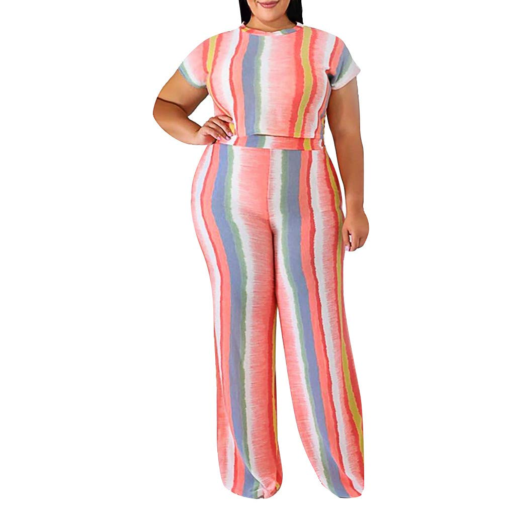 Womens 2 Piece Outfits Rainbow Striped Short Sleeve Crewneck Crop Tops T Shirt High Waist Wide Leg Pants Plus Size 2019 Summer Casual Party Suits by Armfre Two-Piece-Outfit
