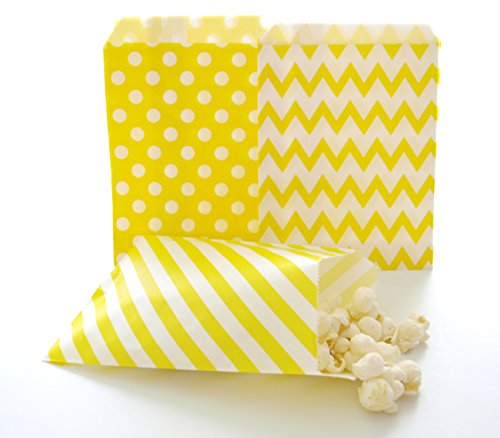 Yellow Candy Bags, Decorative Paper Bags, Summer Wedding Goody Bags, Party Treat Bags, 75 Pack - Yellow Striped, Polka Dot & Chevron Bags