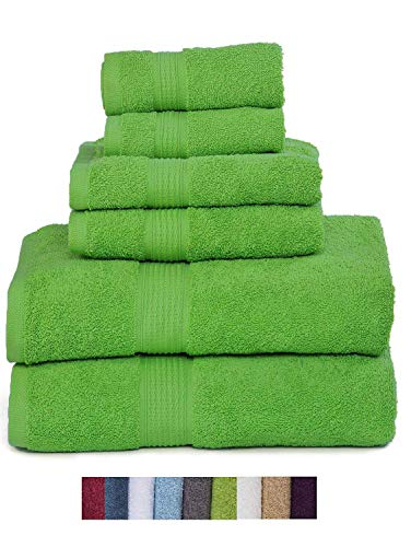 Hydro Basics Fade-Resistant 6-Piece Cotton Towel Set, 100% Cotton Terry Bathroom Set, Soft, Absorbent, Machine Washable, Quick Dry (Lime Green) by Hydro