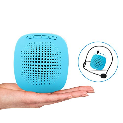 XB-600 Voice Amplifier, Color Options, Mini Rechargeable PA system with multifunction, Supports MP3 Format Audio and SD Card good for Teaching, Speech, Conference, Church, Promotion, Business (Blue)