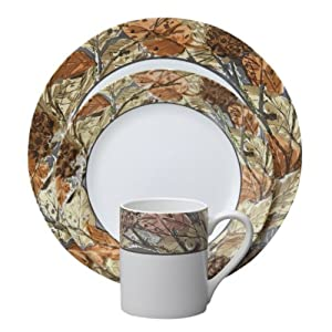 Corelle Impressions 16-Piece Dinnerware Set, Woodland Leaves, Service for 4