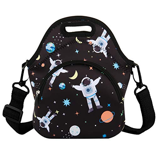 Neoprene Lunch Bag Reusable Black Tote Bag Cool Astronaut Insulated Lunch Box Handbag Fordable (Best Insulated Lunch Box 2019)
