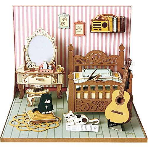 CubicFun Miniature DIY Dollhouse Craft Kits with Furniture for Girls and Women Gift, Bedroom Set