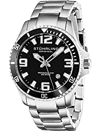 Mens Swiss Quartz Stainless Steel Sport Analog Dive Watch, Water Resistant 200 Meters, Black Dial, Aqua-diver 395.33B11