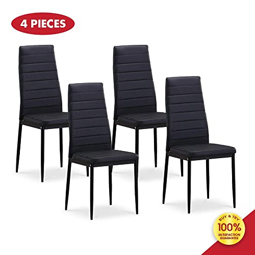 Dining PU Leather Kitchen Chairs Cushion High Back Support, Set of 4, Black
